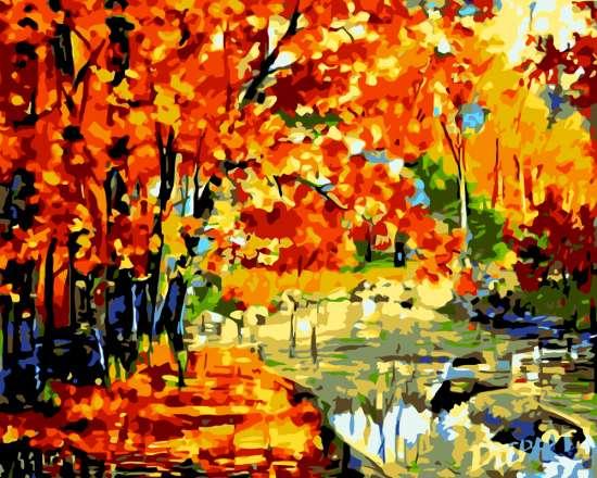 Картина по номерам 40x50 Дорога в золотистом лесу