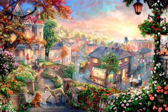 Картина по номерам 40x50 Сказочный городок в цветах